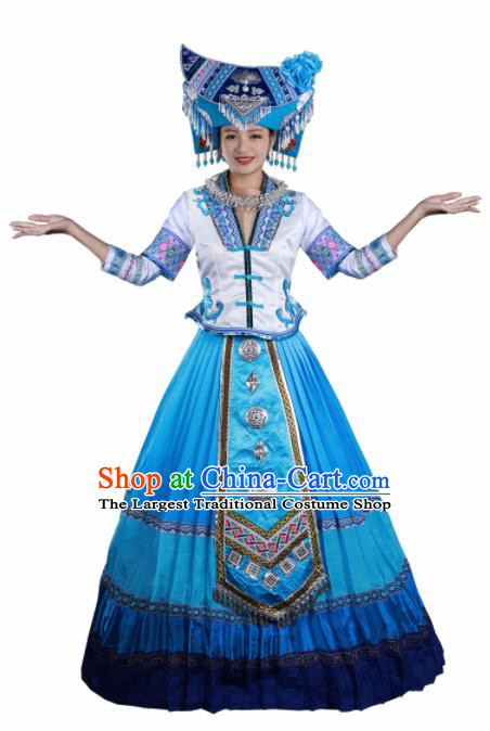 Traditional Chinese Zhuang Nationality Liu Sanjie Blue Long Dress Guangxi Ethnic Folk Dance Stage Show Costume for Women