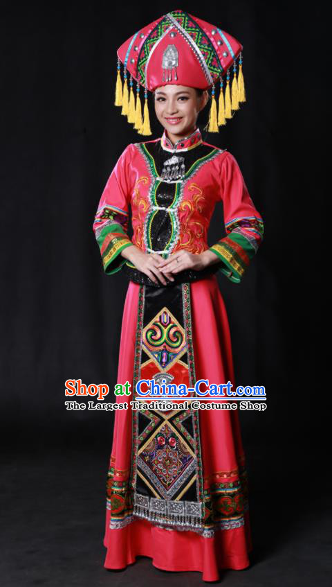 Chinese Traditional Guangxi Zhuang Nationality Rosy Dress Ethnic Minority Folk Dance Stage Show Costume for Women