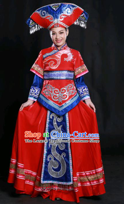 Chinese Traditional Guangxi Zhuang Nationality Red Dress Ethnic Minority Folk Dance Stage Show Costume for Women