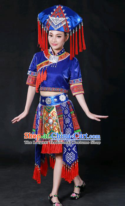 Chinese Traditional Guangxi Zhuang Nationality Royalblue Short Dress Ethnic Minority Folk Dance Stage Show Costume for Women