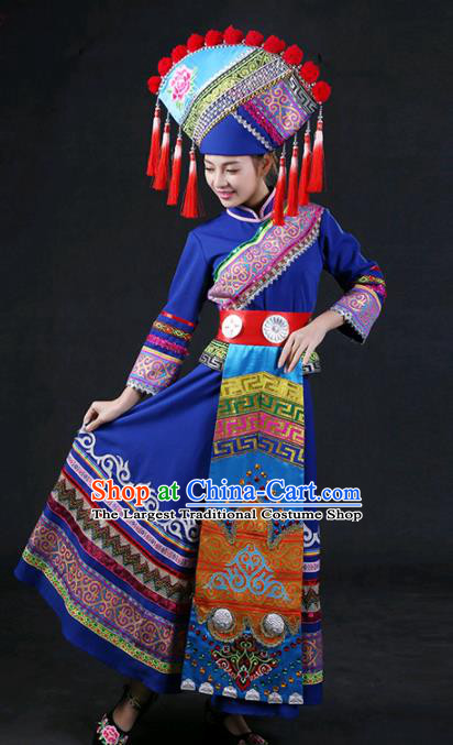 Chinese Traditional Guangxi Zhuang Nationality Stage Show Blue Dress Ethnic Minority Folk Dance Costume for Women