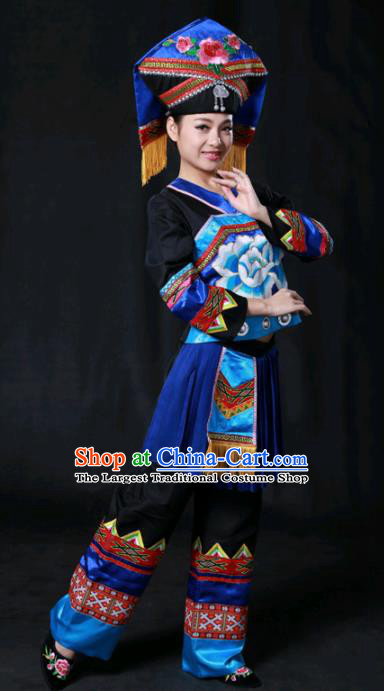 Chinese Traditional Guangxi Zhuang Nationality Stage Show Black Outfits Ethnic Minority Folk Dance Costume for Women