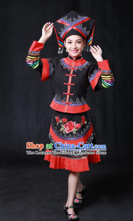 Chinese Traditional Guangxi Zhuang Nationality Stage Show Black Short Dress Ethnic Minority Folk Dance Costume for Women