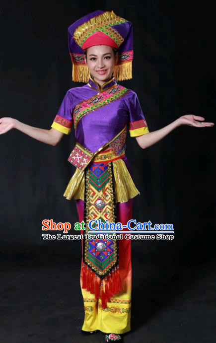 Chinese Traditional Guangxi Zhuang Nationality Purple Outfits Ethnic Minority Folk Dance Stage Show Costume for Women