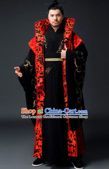 Traditional Chinese Han Dynasty Royal Highness Clothing Ancient Drama Prime Minister Costume for Men