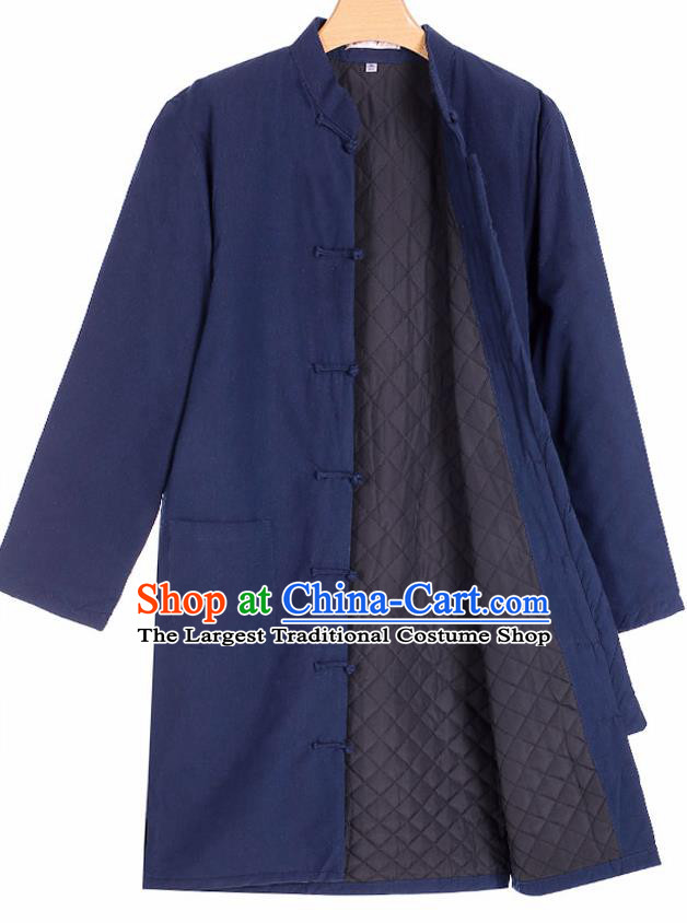 Chinese National Tang Suit Navy Cotton Padded Jacket Overcoat Traditional Martial Arts Costumes for Men