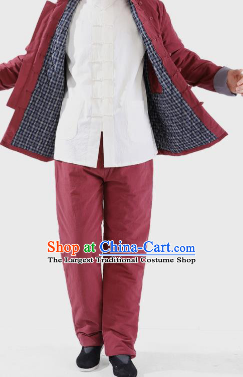 Chinese National Purplish Red Cotton Wadded Jacket and Pants Traditional Tang Suit Martial Arts Costumes Complete Set for Men