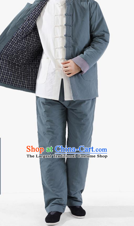 Chinese National Blue Cotton Wadded Jacket and Pants Traditional Tang Suit Martial Arts Costumes Complete Set for Men
