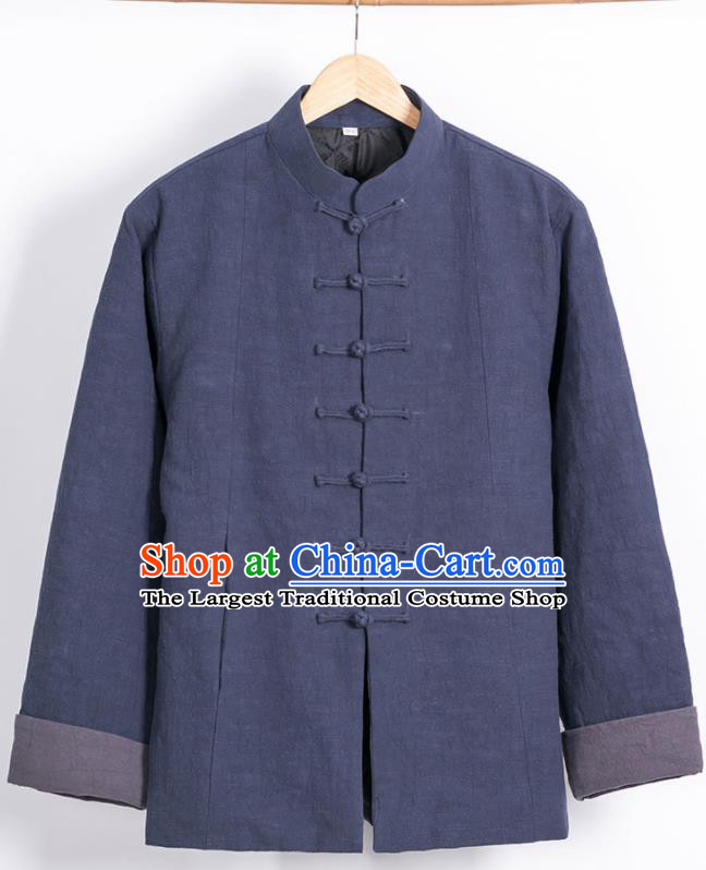 Chinese National Tang Suit Navy Cotton Wadded Jacket Traditional Martial Arts Overcoat Costumes for Men
