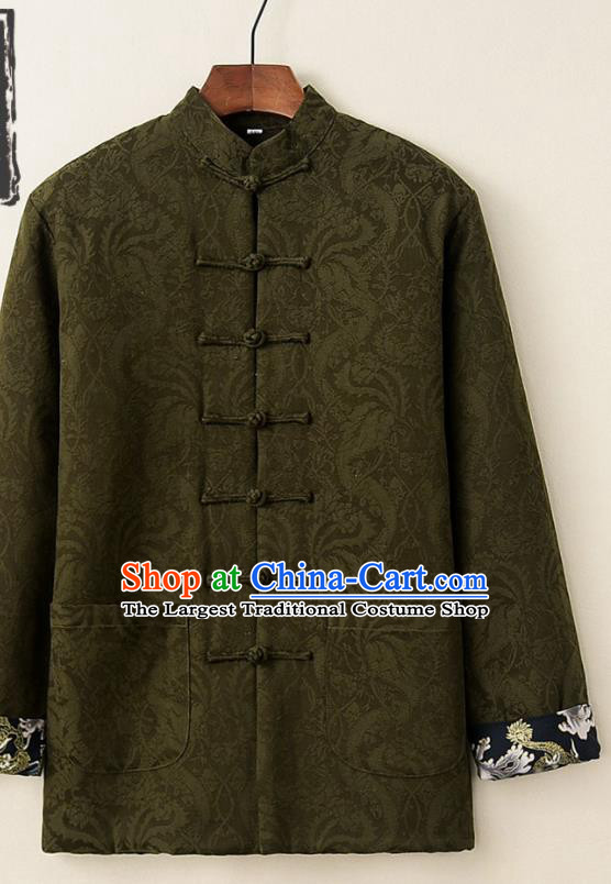 Chinese National Tang Suit Olive Green Thicken Jacket Traditional Martial Arts Costumes for Men