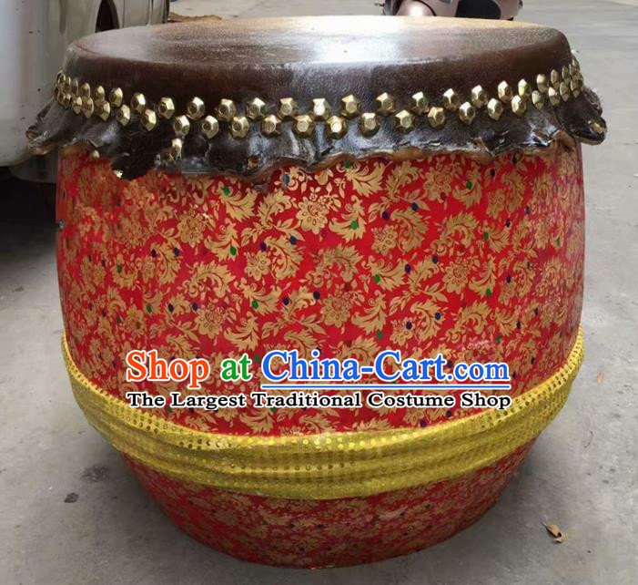 Chinese World Lion Dance Red Cowhide Drum Traditional Lion Dance Musical lnstruments Drum
