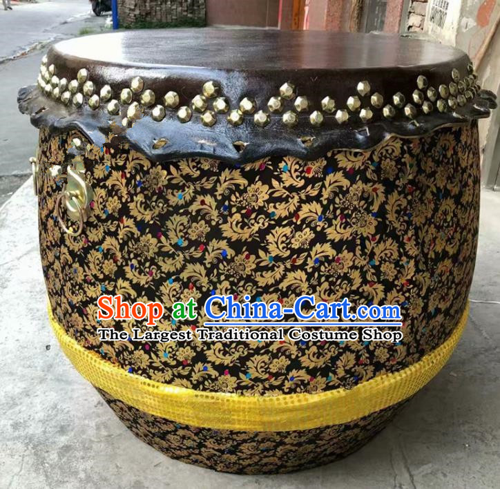 Chinese World Lion Dance Black Cowhide Drum Traditional Lion Dance Musical lnstruments Drum