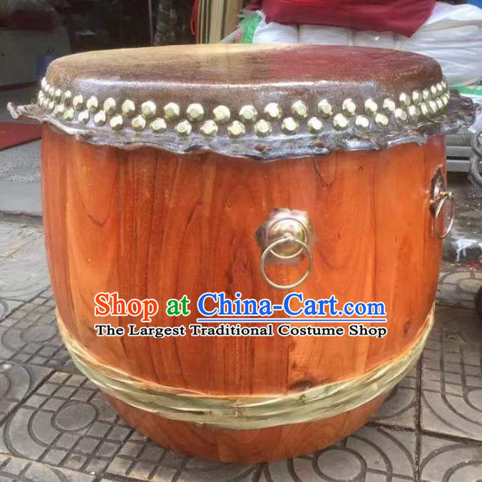 Chinese Lion Dance Wood Cowhide Drum Traditional Lion Dance Musical lnstruments Drum