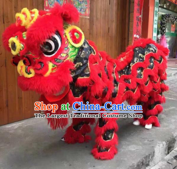 Top Chinese World Lion Dance Competition Red Fur Lion Head Lion Dance Costumes for Adult