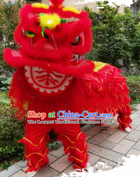 Chinese Traditional Lion Dance Competition Red Fur Lion Head Top Lion Dance Costumes for Adult