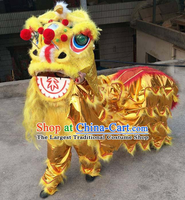 Chinese Traditional Lion Dance Competition Golden Lion Head Top Lion Dance Costumes for Kids