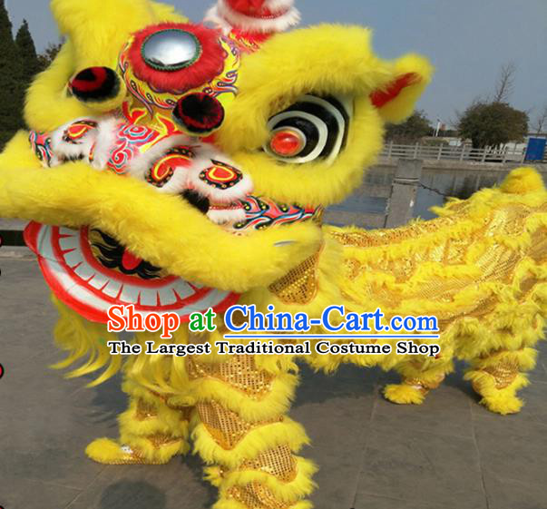 Chinese Traditional Lion Dance Yellow Fur Lion Head Top Lion Dance Competition Costumes for Adult