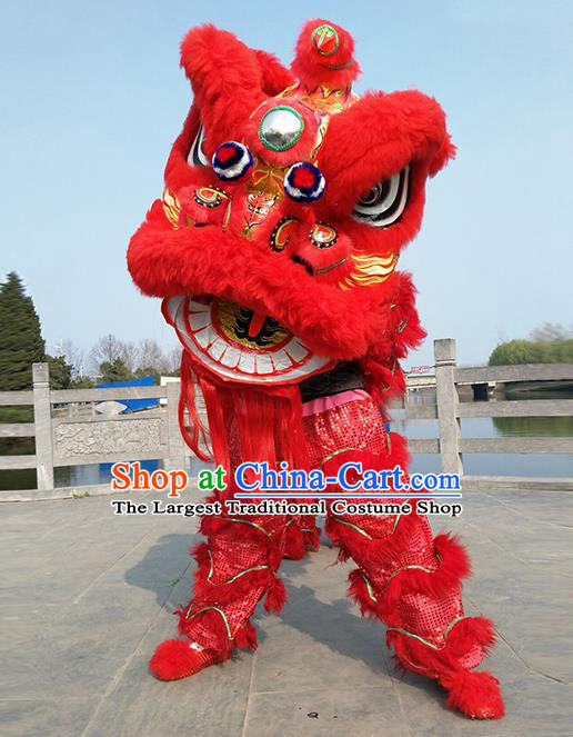 Chinese Traditional Lion Dance Red Fur Lion Head Top Lion Dance Competition Costumes for Adult