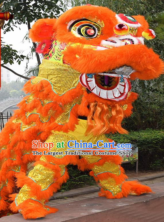 Chinese Traditional Lion Dance Orange Fur Lion Head Top Lion Dance Competition Costumes for Adult