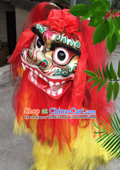Chinese Traditional Children Lion Dance Fur Lion Head Top Lion Dance Competition Costumes for Kids