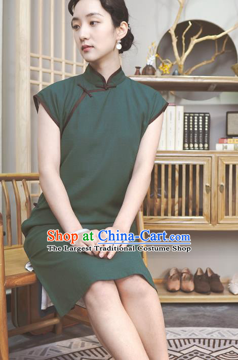 Republic of China Traditional Deep Green Qipao Dress Chinese National Tang Suit Cheongsam Costumes for Women