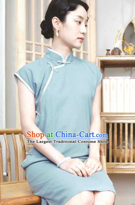 Republic of China Traditional Lake Blue Qipao Dress Chinese National Tang Suit Cheongsam Costumes for Women