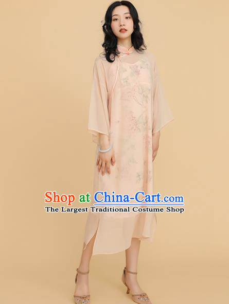 Republic of China Traditional Apricot Qipao Dress Chinese National Tang Suit Cheongsam Costumes for Women