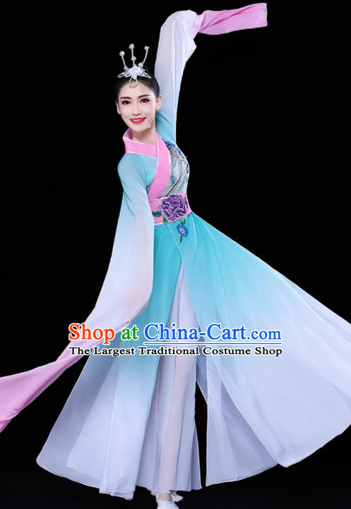 Chinese Traditional Umbrella Dance Water Sleeve Blue Dress Classical Dance Stage Performance Costume for Women