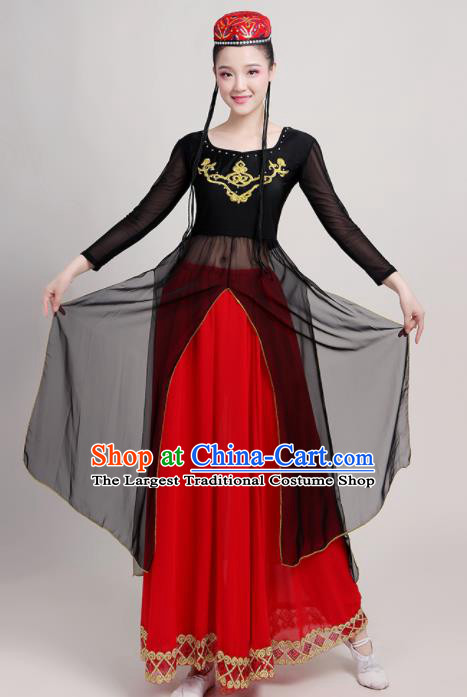 Chinese Traditional Xinjiang Uyghur Nationality Red Dress Uigurian Ethnic Folk Dance Costume for Women