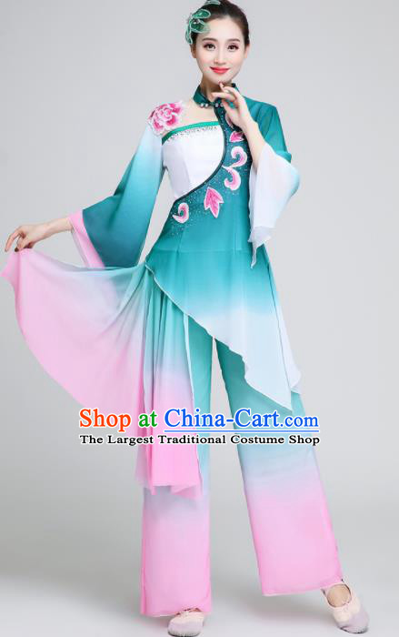 Chinese Traditional Classical Dance Fan Dance Green Outfits Umbrella Dance Stage Performance Costume for Women