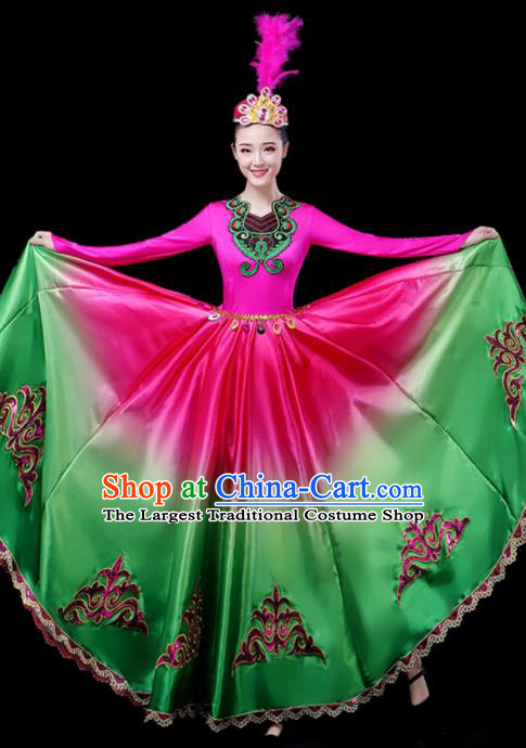 Chinese Traditional Xinjiang Uyghur Nationality Green Dress Ethnic Folk Dance Costume for Women