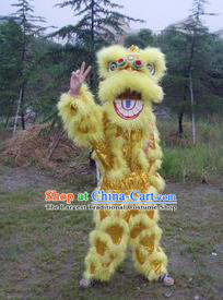 Chinese Traditional Single Lion Dance Yellow Costume Fur Lion Head Lantern Festival Folk Dance Prop Complete Set