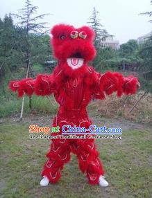 Chinese Traditional Single Lion Dance Red Costume Fur Lion Head Lantern Festival Folk Dance Prop Complete Set
