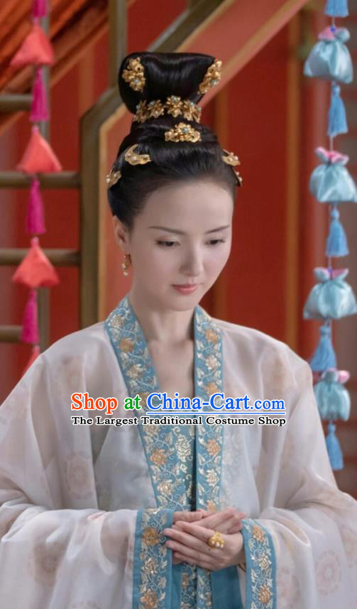 Chinese Ancient Crown Princess Zhang Nianzhi Drama Royal Nirvana Replica Costumes and Headpiece Complete Set