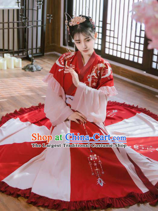 Traditional Chinese Jin Dynasty Palace Princess Historical Costumes Ancient Royal Infanta Red Hanfu Dress for Women