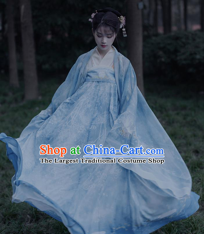Traditional Chinese Ancient Court Princess Blue Hanfu Dress Song Dynasty Patrician Lady Historical Costumes for Women