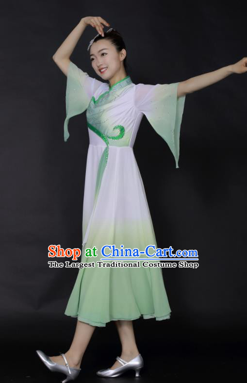 Chinese Fan Dance Umbrella Dance Green Dress Traditional Classical Dance Stage Performance Costume for Women