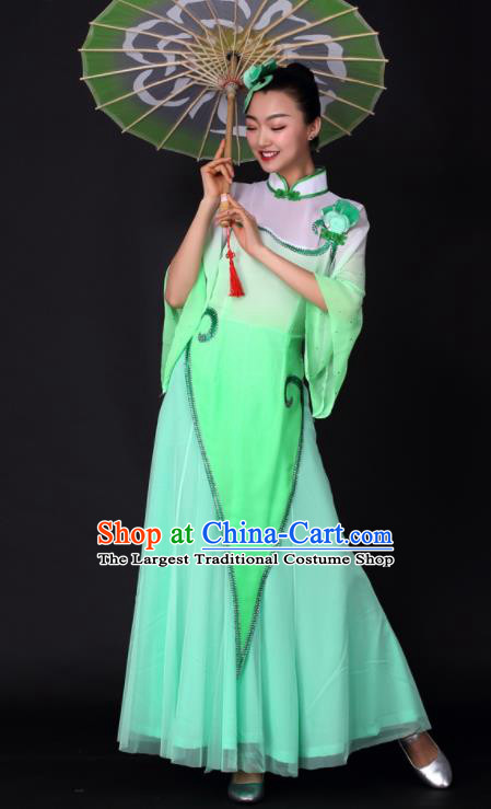 Chinese Classical Dance Umbrella Dance Green Dress Traditional Stage Performance Costume for Women