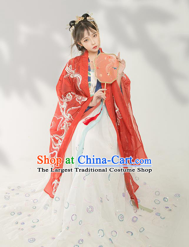 Chinese Traditional Tang Dynasty Court Infanta Historical Costume Ancient Royal Princess Hanfu Dress for Women