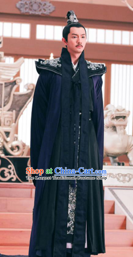 Chinese Ancient Prime Minister Feng Ruge Clothing Historical Drama Colourful Bone Costume and Headpiece for Men