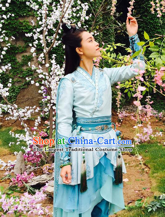 Chinese Historical Drama The Legend of Zu Ancient Swordsman Zhou Qingyun Costume and Headpiece for Women