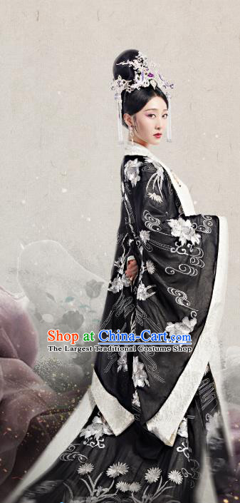 Chinese Historical Drama The Eternal Love Ancient Imperial Consort Dugu Yan Costume and Headpiece for Women