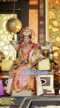 Chinese Ancient Queen Costumes Historical Drama Love Amongst War Empress Dress and Hair Crown Complete Set