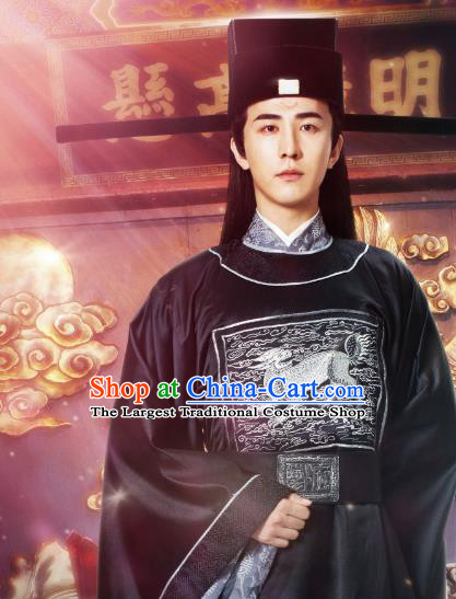 Chinese Ancient Song Dynasty Kylin Official Costumes and Hat Drama Kai Feng Qi Tan Magistrate Official Bao Zheng Garment Apparels