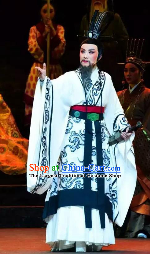 Chinese Yue Opera Official Garment Costumes and Headwear Qu Yuan Shaoxing Opera Male Role Apparels