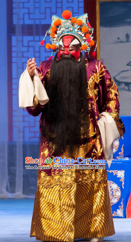 Geng Niang Chinese Ping Opera Elderly Male Costumes and Headwear Pingju Opera Marshal Yuan Apparels Clothing