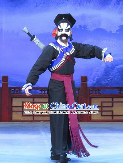 Zhu Hen Ji Chinese Ping Opera Young Male Costumes and Headwear Pingju Opera Wusheng Martial Male Apparels Soldier Clothing
