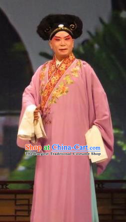 Zhen Zhu Shan Chinese Ping Opera Young Male Costumes and Headwear Pingju Opera Merchant Apparels Clothing