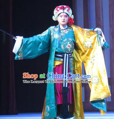 Chinese Ping Opera Bao Gong San Kan Butterfly Dream Wusheng Costumes and Headwear Pingju Opera Martial Male Apparels Takefu Clothing