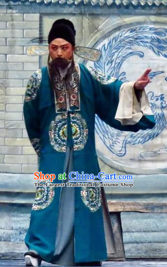 Yu He Qiao Chinese Ping Opera Landlord Costumes and Headwear Pingju Opera Elderly Male Apparels Clothing